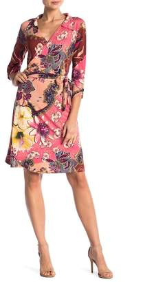 24\u002F7 Comfort Rose Collared V-Neck 3\u002F4 Sleeve Wrap Dress (Plus Size Available)