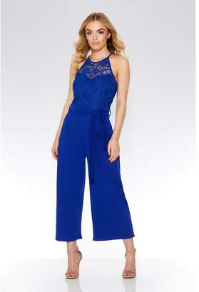 fa740cad794 at Quiz Clothing · Quiz Royal Blue Lace Culotte Jumpsuit