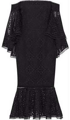 Nicholas Off-The-Shoulder Fluted Guipure Lace Midi Dress