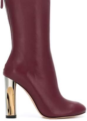 Alexander McQueen metallic heel mid-calf boots