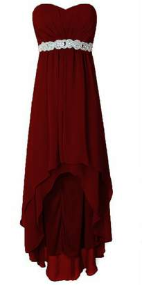 Cdress High Low Bridesmaid Dresses Chiffon Sweetheart Evening Dress Beaded Party Gowns US
