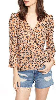 J.o.a. Animal Print V-Neck Peplum Top