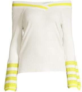 Varsity Stripe Off-The-Shoulder Bell Sleeve Sweater