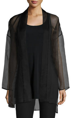 Eileen Fisher Long Washed Silk Organza Jacket, Plus Size $119 thestylecure.com