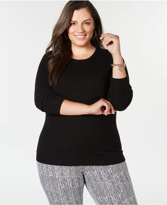 Charter Club Plus Size Pure Cashmere Crewneck Sweater