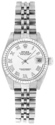 Rolex Datejust 6916 Stainless Steel Jubilee White Roman Dial 18K Gold Fluted Bezel 26mm Womens Watch