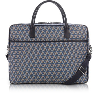 Ikon Lancaster Paris Blue Coated Canvas Men's Briefcase