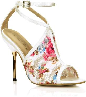 DolphinBanana Dolphin Women Flower Pinte Open Toe High Heel Saldals With Strap Cocktail Party Shoes Carpet Dress SM000041