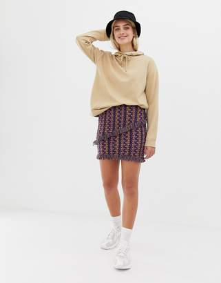 Noisy May textured printed mini skirt