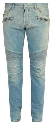 Balmain Slim Leg Biker Jeans - Mens - Blue