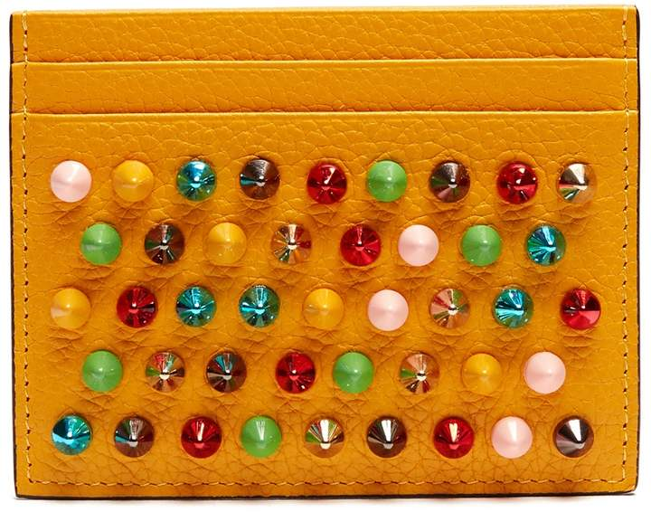 Christian Louboutin  CHRISTIAN LOUBOUTIN Kios spike-embellished leather cardholder