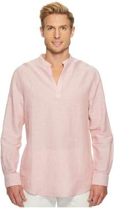 Perry Ellis Long-Sleeve Solid Linen Cotton Popover Shirt Men's Clothing