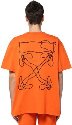 Off-White Off White Embroidered & Printed Oversize T-shirt