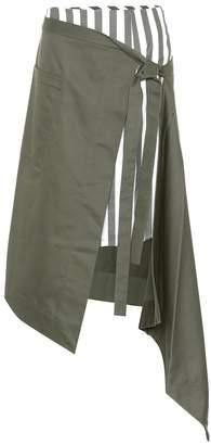 Monse Asymmetric cotton wrap skirt