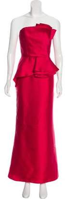 Carmen Marc Valvo Strapless Evening Dress