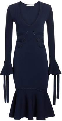 Jonathan Simkhai Grommet Jacquard V-Neck Dress