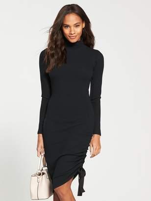 Very Roll Neck Drawstring Midi Dress - Black