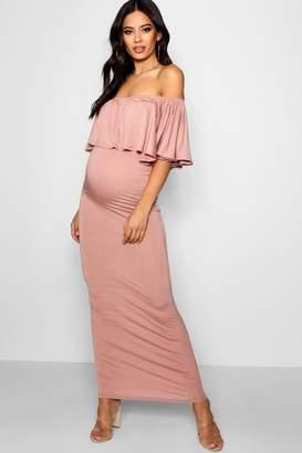 boohoo Maternity Off Shoulder Ruffle Maxi Dress
