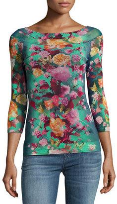Fuzzi Floral-Print Illusion-Shoulder Tulle Top, Blue Pattern $325 thestylecure.com