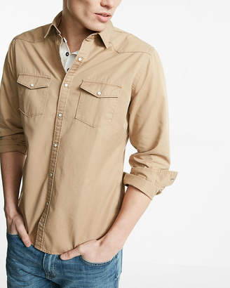 Express Slim Twill Western Shirt