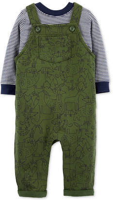 Carter's Carter Baby Boys 2-Pc. Cotton Striped T-Shirt & Animal-Print Overalls Set