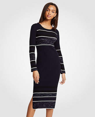 Ann Taylor Petite Spacedye Striped Sweater Dress