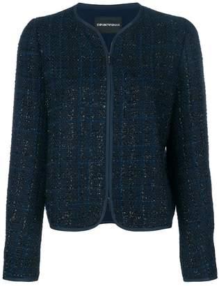 Emporio Armani checked collarless jacket