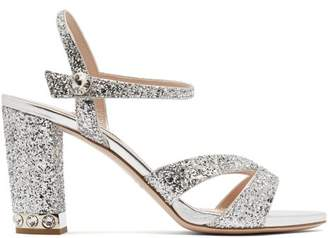 Miu Miu Glitter Embellished Open Toe Leather Sandals - Womens - Silver