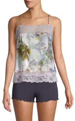 Samantha Chang Pia Floral Silk Camisole