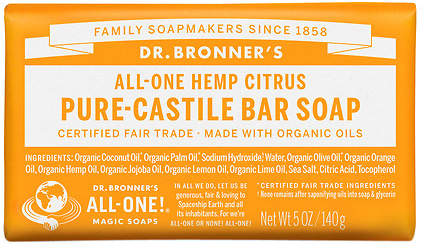 Dr. Bronner's All-One Hemp Pure-Castile Soap Bar Citrus Orange