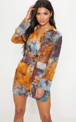 PrettyLittleThing Multi Acid Wash Shirt Dress