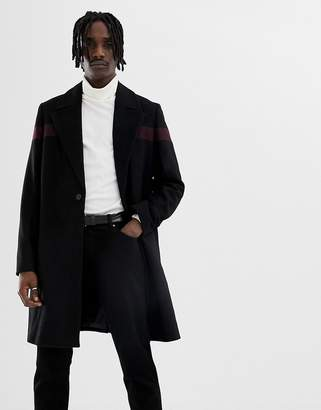 Asos Design DESIGN wool mix overcoat with body stripe in black