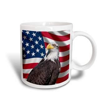 3dRose American Flag USA Bald Eagle Patriotism Patriotic Stars Stripes, Ceramic Mug, 11-ounce