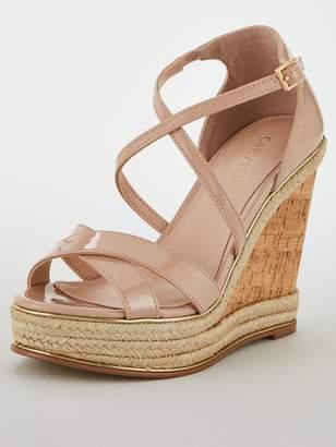 Carvela High Wedge Sandals - Nude
