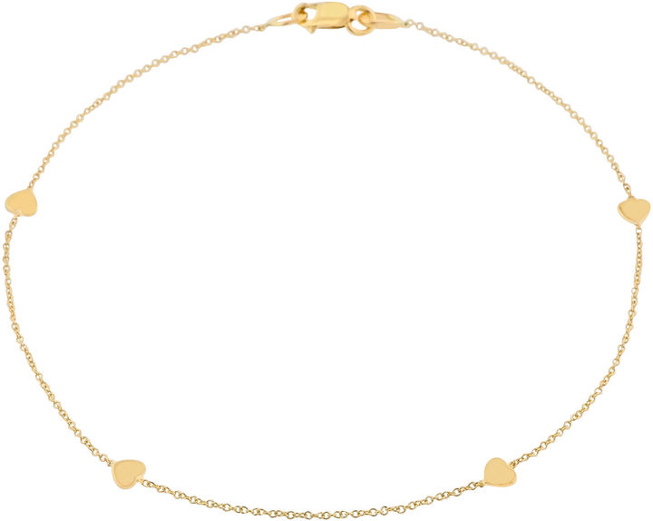 JCPenney FINE JEWELRY 10K Gold Heart Station Ankle Bracelet