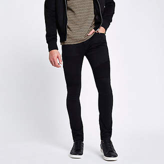 River Island Black Danny super skinny biker jeans