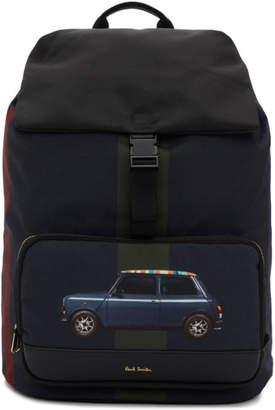Paul Smith Navy Mini Stripe Print Canvas Backpack