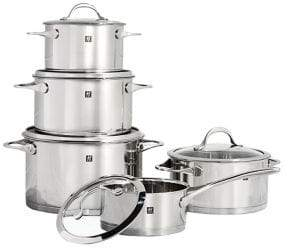 Zwilling J.A. Henckels Essence 10-Piece 18/10 Stainless Steel Cookware Set with Bonus