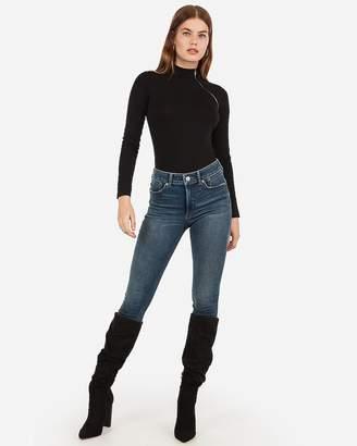 Express Mock Neck Asymmetrical Zip Thong Bodysuit