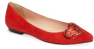 Women's Kate Spade New York Eden Sequin Heart Flat $198 thestylecure.com
