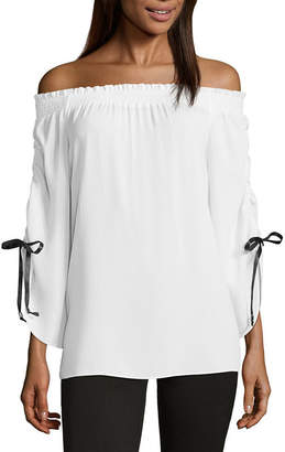 Libby Edelman Off The Shoulder Ruched Sleeve Top