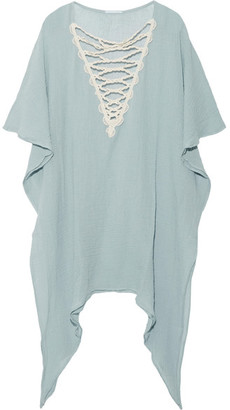Eberjey - Sea Breeze Isadora Cotton-gauze Dress - Sky blue $215 thestylecure.com
