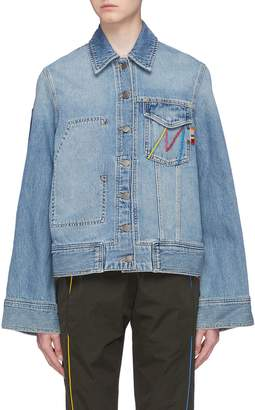 Mira Mikati 'Late' rainbow fringe slogan patch denim jacket