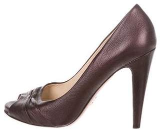 Prada Leather Peep-Toe Pumps
