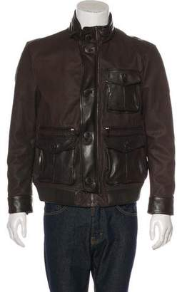 Giorgio Armani Embossed Leather Cargo Jacket