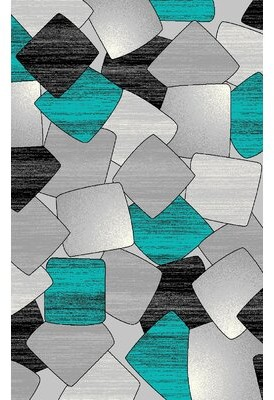 Orren Ellis Ilkley 3D Effect Thick Modern Contemporary Abstract Turquoise Area Rug Orren Ellis