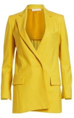 Oscar de la Renta Notch Lapel Stretch Wool Blazer