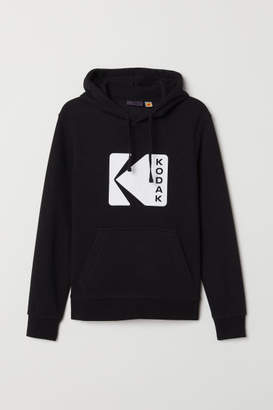 H&M Printed Hooded Sweatshirt - Black