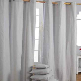 Camilla And Marc Homescapes Cotton Plain Grey Ready Made Eyelet Curtain Pair, 137 X 228 Cm