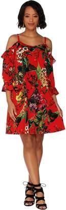 Du Jour V-Neck Floral Printed Cold Shoulder Knit Dress